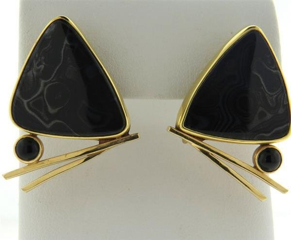 Peggie Robinson 14k Gold Gemstone Onyx Earrings