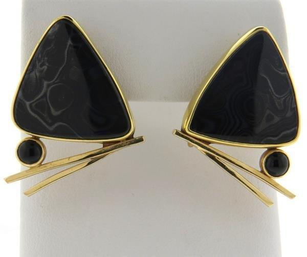 Peggie Robinson 14k Gold Gemstone Onyx Earrings - 2