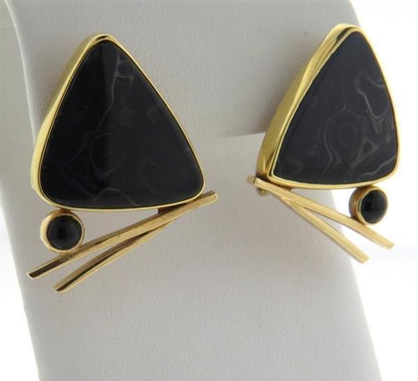 Peggie Robinson 14k Gold Gemstone Onyx Earrings - 3