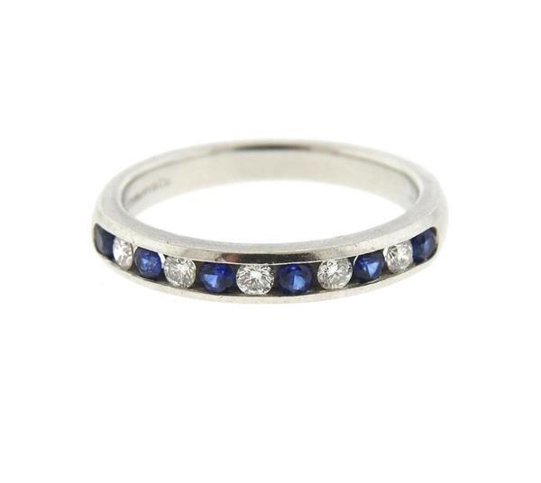 Tiffany & Co Platinum Diamond Sapphire Half Band