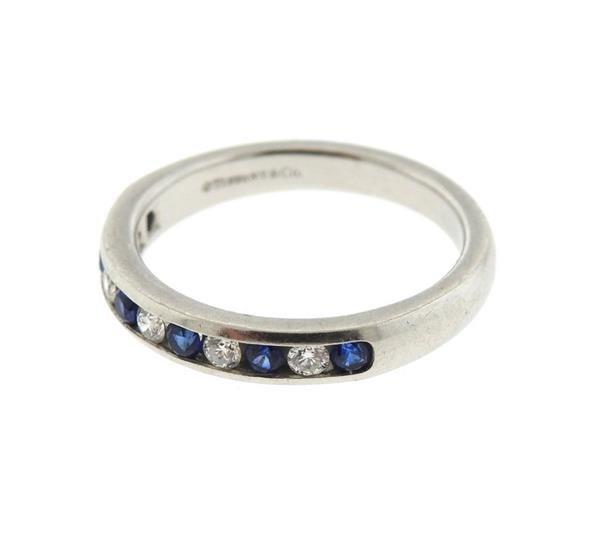 Tiffany & Co Platinum Diamond Sapphire Half Band - 2