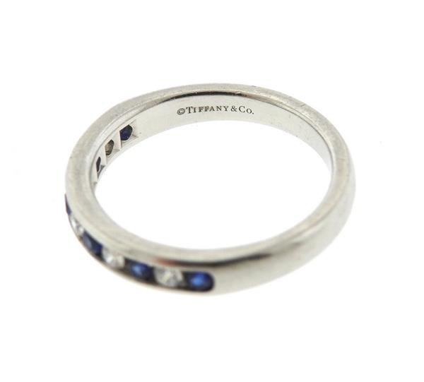 Tiffany & Co Platinum Diamond Sapphire Half Band - 3