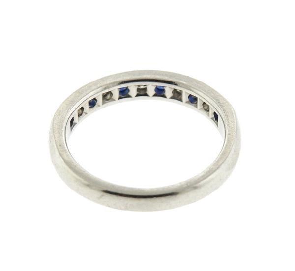 Tiffany & Co Platinum Diamond Sapphire Half Band - 4