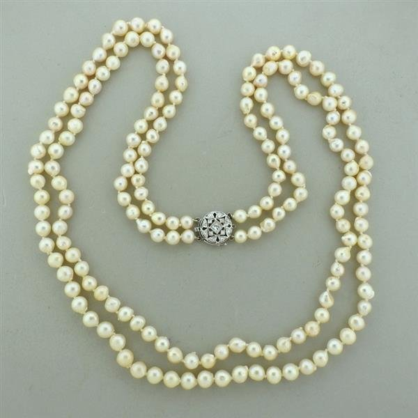 14k Gold Pearl Diamond Two Strand Long Necklace
