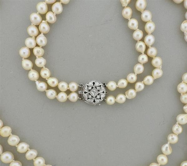 14k Gold Pearl Diamond Two Strand Long Necklace - 2