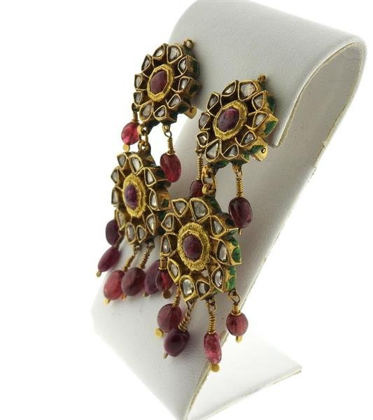 Indian 22k Gold Rose Cut Diamond Ruby Enamel Earrings - 2