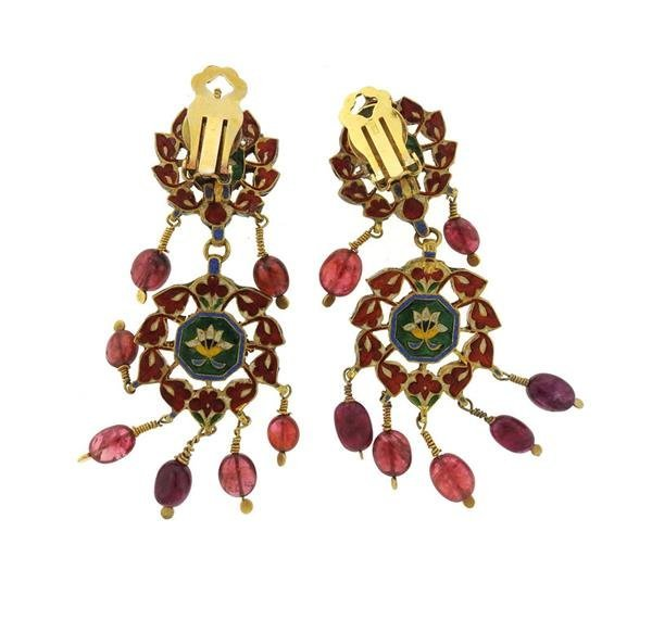 Indian 22k Gold Rose Cut Diamond Ruby Enamel Earrings - 3