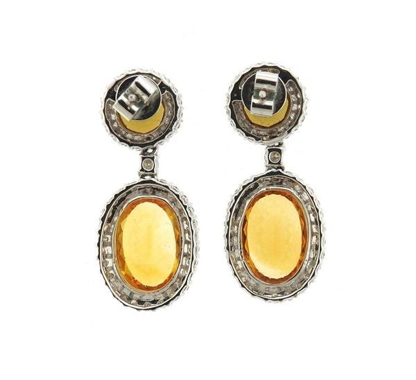 18k Gold 1.20ctw Diamond Gemstone Drop Earrings - 2