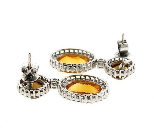 18k Gold 1.20ctw Diamond Gemstone Drop Earrings - 3