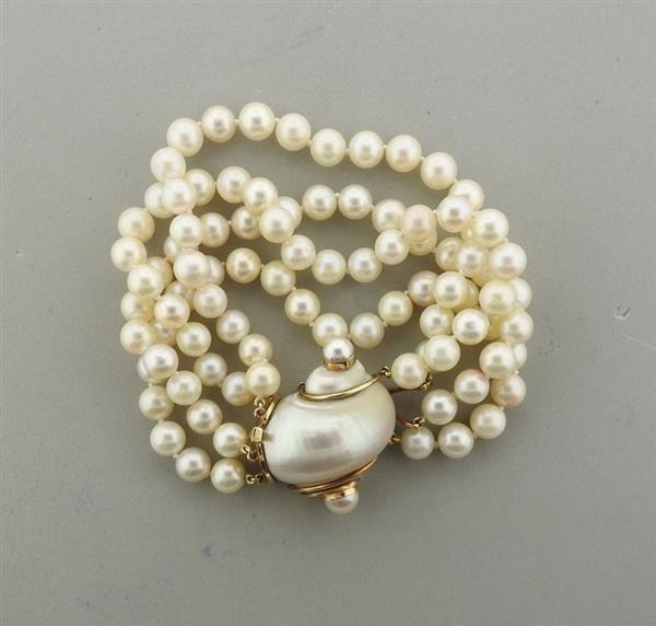Seaman Schepps 14k Gold Turbo Shell Pearl Bracelet - 2