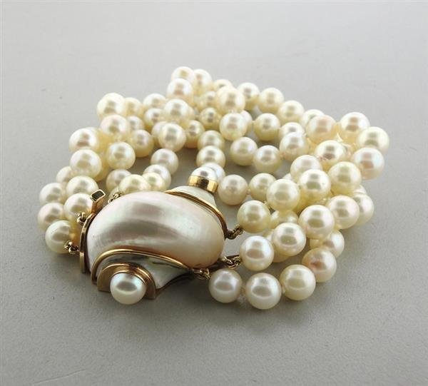 Seaman Schepps 14k Gold Turbo Shell Pearl Bracelet - 3