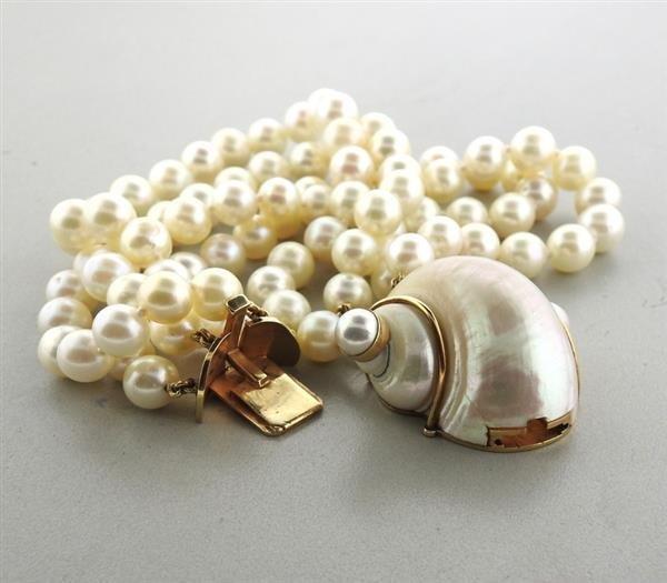 Seaman Schepps 14k Gold Turbo Shell Pearl Bracelet - 4