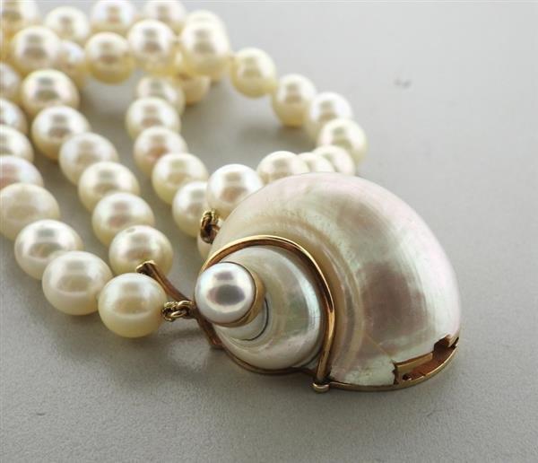 Seaman Schepps 14k Gold Turbo Shell Pearl Bracelet - 5