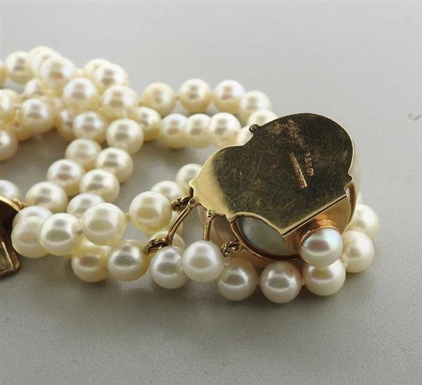 Seaman Schepps 14k Gold Turbo Shell Pearl Bracelet - 6