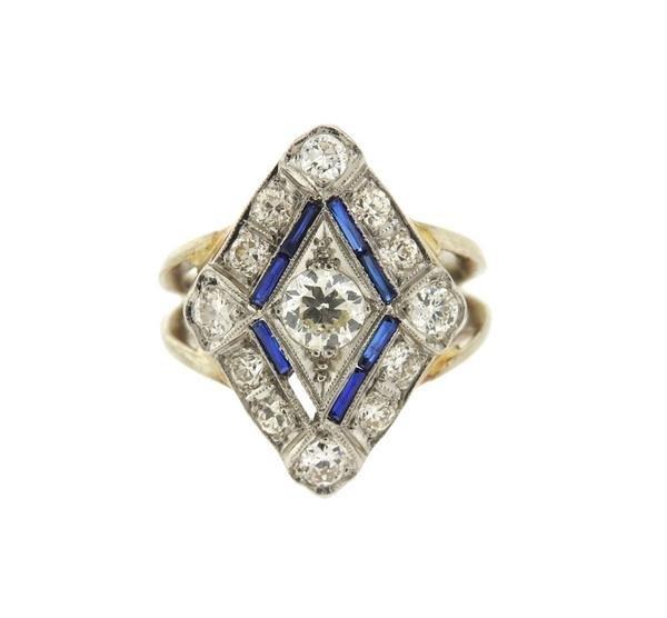 Art Deco 14k Gold Diamond Sapphire Ring
