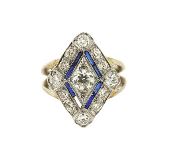 Art Deco 14k Gold Diamond Sapphire Ring