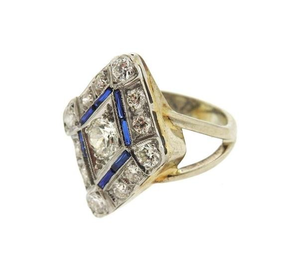 Art Deco 14k Gold Diamond Sapphire Ring - 2