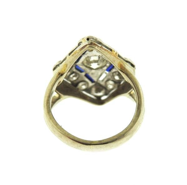 Art Deco 14k Gold Diamond Sapphire Ring - 3