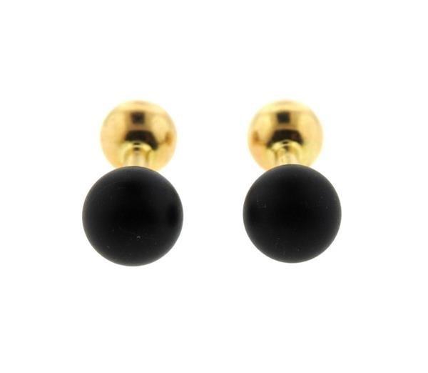 Tiffany & Co 14k Gold Black Stone Barbell Cufflinks