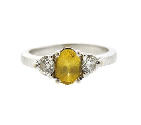 14k Gold Yellow Sapphire Diamond Ring