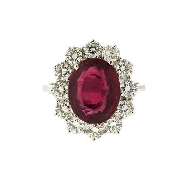 18k Gold Red Stone Diamond Ring