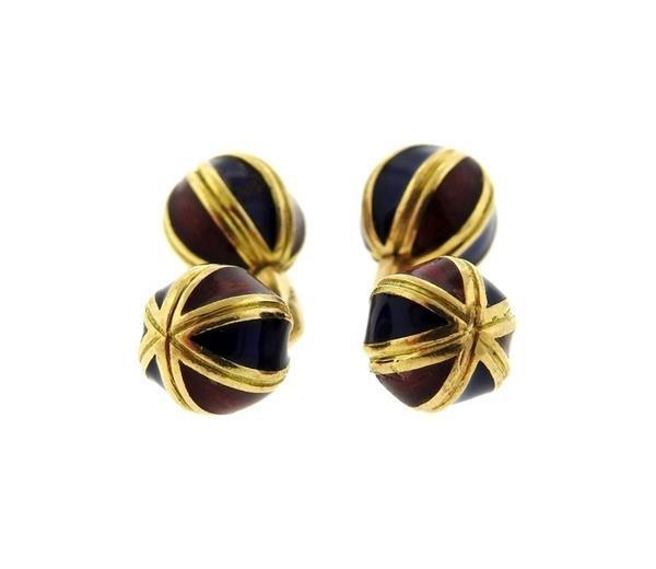 Jean Schlumberger 18k Gold Enamel Cufflinks - 2