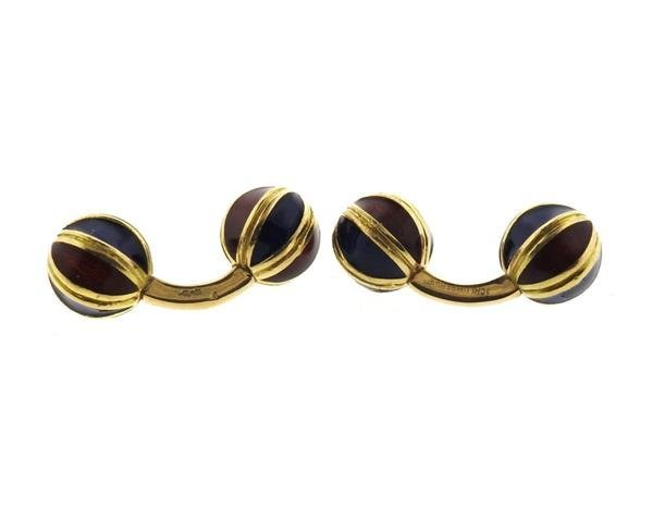 Jean Schlumberger 18k Gold Enamel Cufflinks - 5