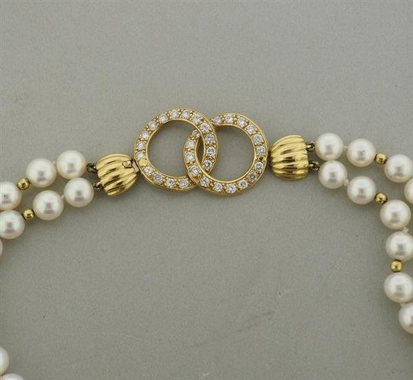 14k Gold Diamond Pearl Necklace - 2
