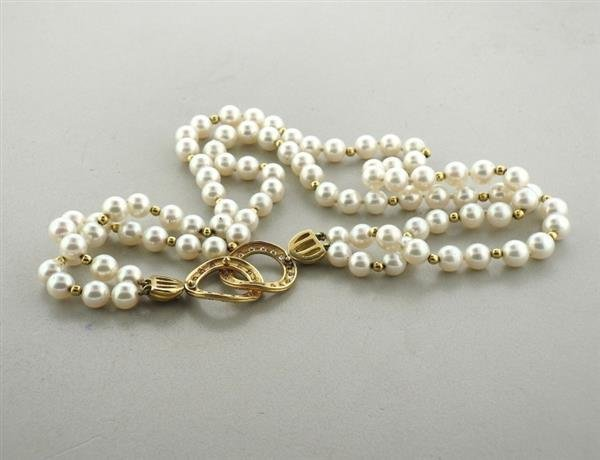 14k Gold Diamond Pearl Necklace - 3