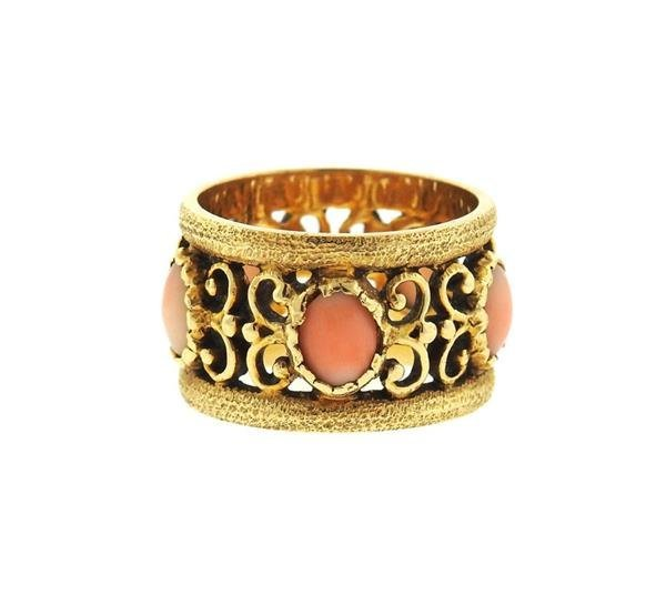 14k Gold Coral Wide Band Ring