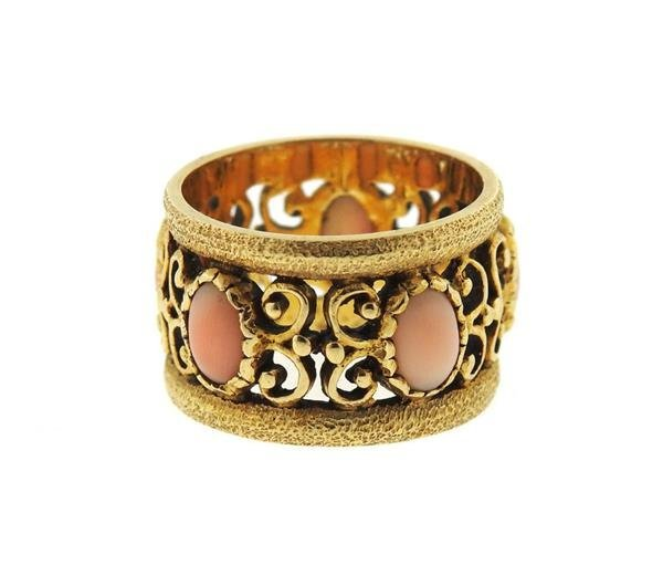 14k Gold Coral Wide Band Ring - 2