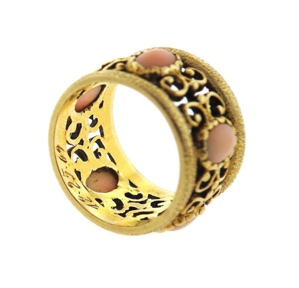 14k Gold Coral Wide Band Ring - 3