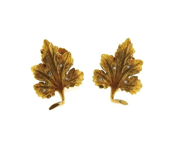 14k Gold Diamond Leaf Earrings