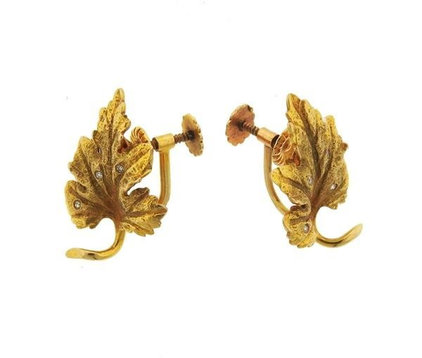 14k Gold Diamond Leaf Earrings - 2