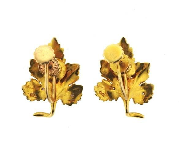 14k Gold Diamond Leaf Earrings - 3