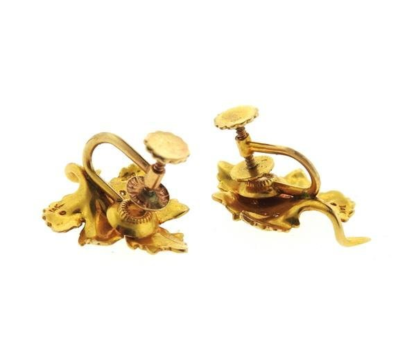 14k Gold Diamond Leaf Earrings - 4