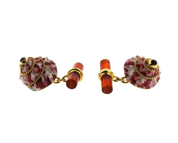 Antora 18k Gold Shell Carnelian Ruby Cufflinks - 2