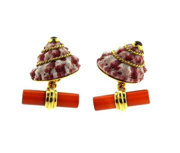Antora 18k Gold Shell Carnelian Ruby Cufflinks - 3