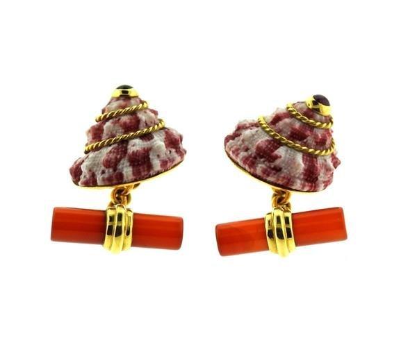 Antora 18k Gold Shell Carnelian Ruby Cufflinks - 3