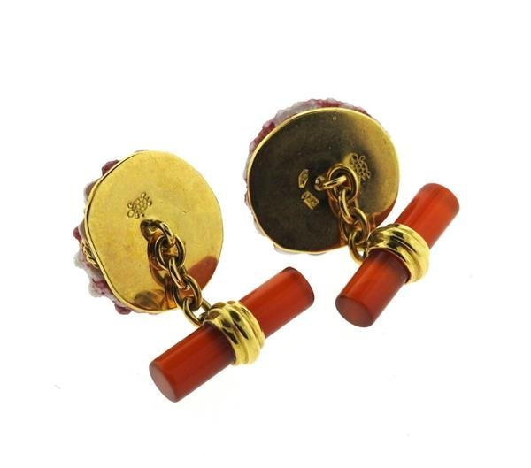 Antora 18k Gold Shell Carnelian Ruby Cufflinks - 4
