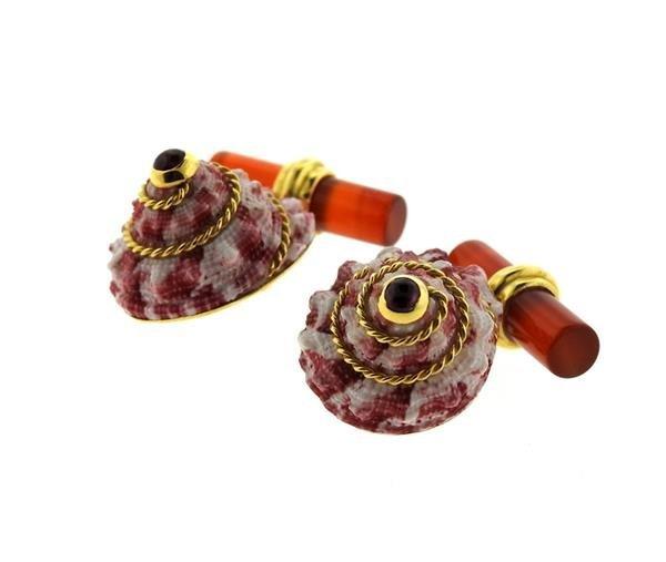 Antora 18k Gold Shell Carnelian Ruby Cufflinks - 5