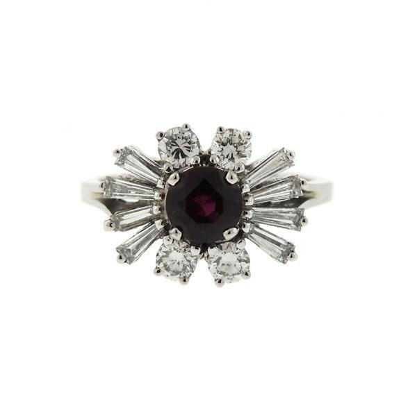 18K Gold Diamond Ruby Cluster Ring