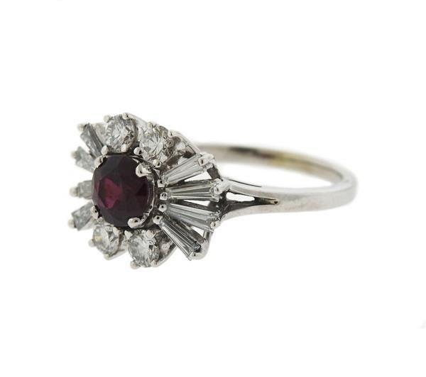 18K Gold Diamond Ruby Cluster Ring - 2