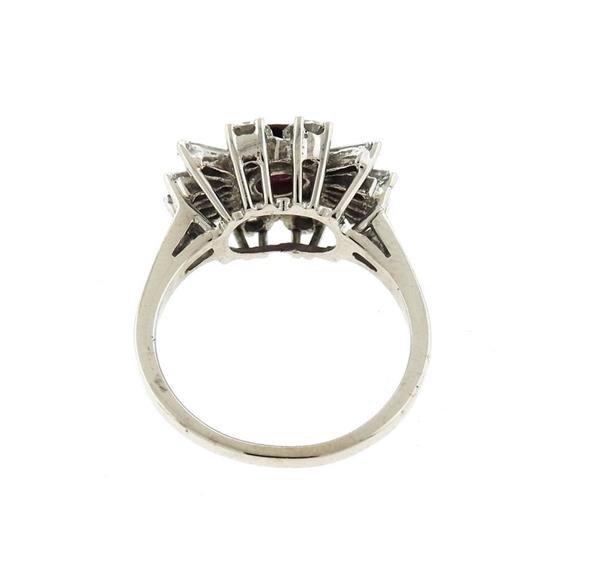 18K Gold Diamond Ruby Cluster Ring - 3