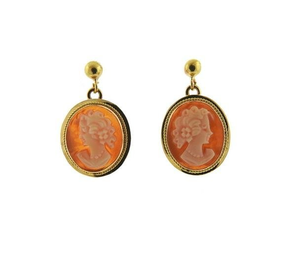 Italian 14K Gold Shell Cameo Dangle Earrings