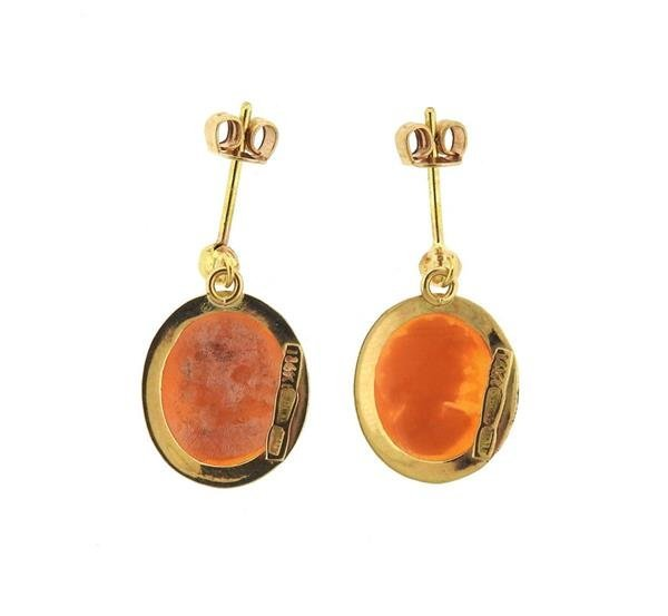 Italian 14K Gold Shell Cameo Dangle Earrings - 3