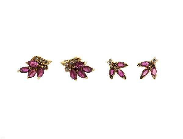 14K Gold Ruby Diamond Stud Earrings Lot of 2