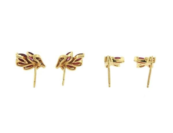 14K Gold Ruby Diamond Stud Earrings Lot of 2 - 2