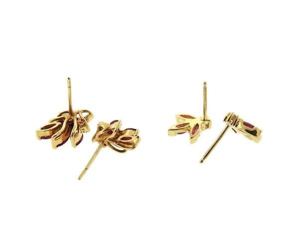 14K Gold Ruby Diamond Stud Earrings Lot of 2 - 3