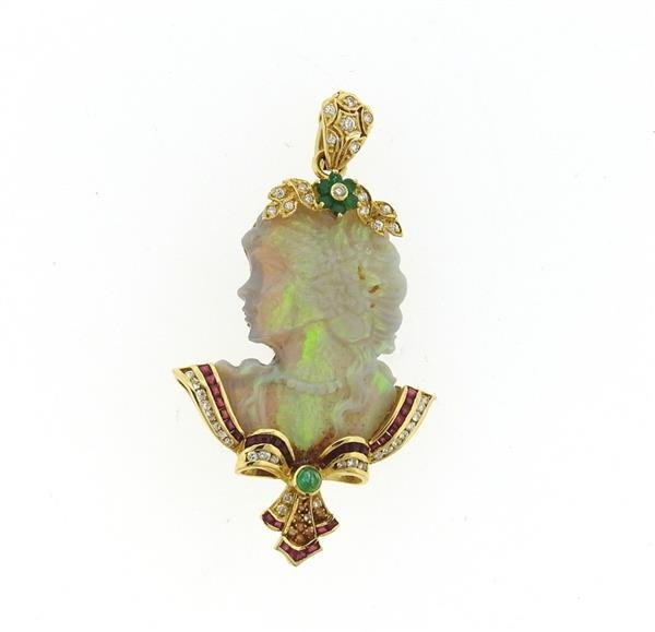 18k Gold Carved Opal Diamond Ruby Emerald Pendant